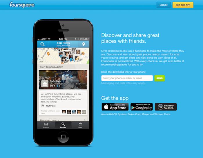 FourSquare Landing Page for Mobile App