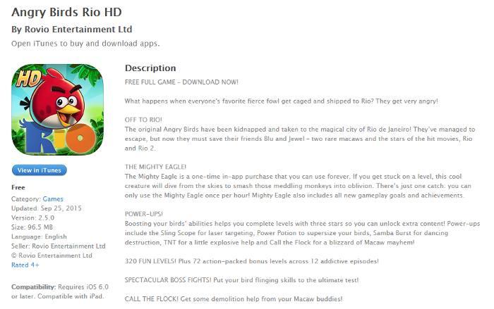 Angry Birds Rio description on iTunes
