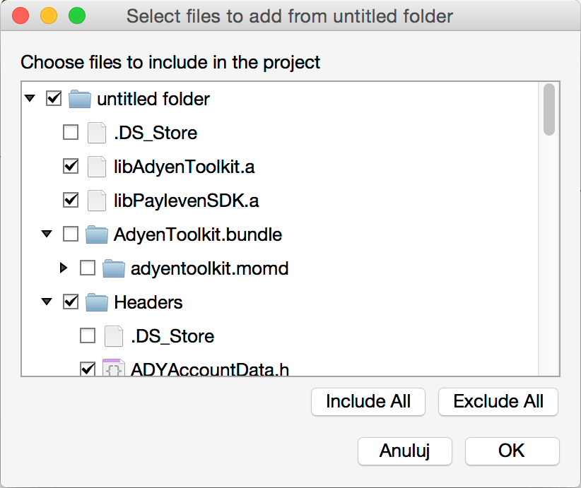Xamarin Payleven - Adding files dialog